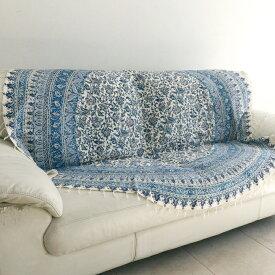 ガラムカール・ペルシャ更紗180cm円形ラウンド・ブルー/フラワー