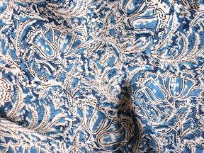 インド更紗・カラムカーリ木版ブロックプリントブルー&ベージュ&レッド/リーフ柄