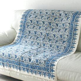 ペルシャ更紗・ガラムカール(イラン・手染布)150cmサイズ長方形・ブルー系フラワー柄・マルチカバー