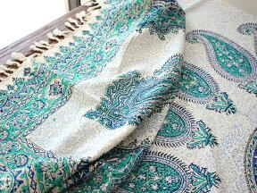 ペルシャ更紗・ガラムカール長方形200cmサイズ・手染め布イラン製グリーン系ペイズリー柄・マルチカバー/ソファカバー/テーブルクロス