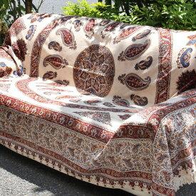 ペルシャ更紗・ガラムカール(イラン・手染布)280cmサイズ長方形・アンバー系/ペイズリー柄・コットンマルチカバー・ソファーカバー・ベッドカバー