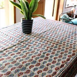 ペルシャ更紗 ガラムカール/木版アンティークデザイン 200cm長方形赤と青のペイズリー テーブルクロス・マルチクロス コットン100%