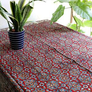 ペルシャ更紗 ガラムカール/木版アンティークデザイン 200cm長方形赤と青の幾何学柄 テーブルクロス・マルチクロス コットン100%