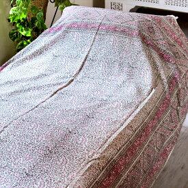 ペルシャ更紗・ガラムカール(イラン・手染布)240cmサイズ長方形アンティークデザイン・ピンク/フラワー/コットンマルチカバー・ソファーカバー・ベッドカバー