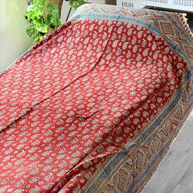 ペルシャ更紗・ガラムカール(イラン・手染布)240cmサイズ長方形アンティークデザイン・アンバー/ペイズリー/コットンマルチカバー・ソファーカバー・ベッドカバー