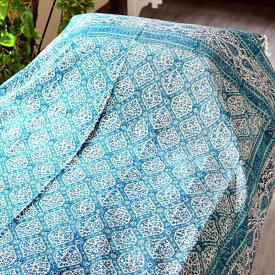 ペルシャ更紗・ガラムカール(イラン・手染布)240cmサイズ長方形アンティークデザイン・グリーン/フラワー/コットンマルチカバー・ソファーカバー・ベッドカバー