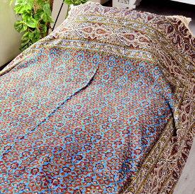ペルシャ更紗・ガラムカール(イラン・手染布)240cmサイズ長方形アンティークデザイン・アンバー/フラワー/コットンマルチカバー・ソファーカバー・ベッドカバー