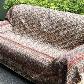 ペルシャ更紗・ガラムカール(イラン・手染布)280cmサイズ長方形アンティークデザイン・フラワー柄・マルチカバー・ソファーカバー・ベッドカバー