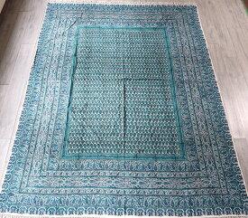 ペルシャ更紗・ガラムカール(イラン・手染布)280cmサイズ長方形アンティークデザイン・ブルーグリーン系フラワー柄・マルチカバー・ソファーカバー・ベッドカバー