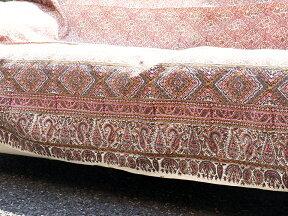 ペルシャ更紗・ガラムカール(イラン・手染布)280cmサイズ長方形アンティークデザイン・ピンク系フラワー柄マルチカバー・ソファーカバー・ベッドカバー