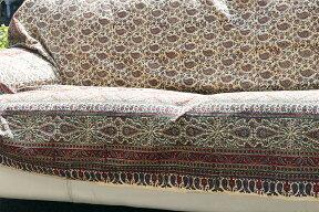 ペルシャ更紗・ガラムカール(イラン・手染布)280cmサイズ長方形アンティークデザイン・フラワー柄マルチカバー・ソファーカバー・ベッドカバー