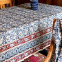ブロックプリントインド更紗・カラムカーリ260x146cm木版手染めブルー&レッド/ペイズリー柄