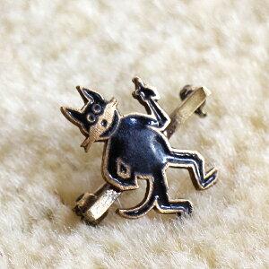 ヴィンテージビーズ/ブローチピン Michel's Vintage Beads 犬 白黒 DOG キャラクター