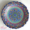 Nimet Design Turkey ceramics handwriting plate 30cm/ turquoise pastel gradation, three-dimensional glaze キュタフヤ ceramics fs3gm