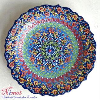 Nimet 设计土耳其手写板 30 厘米 / 绿松石柔和的渐变和固体 kyutahya 陶