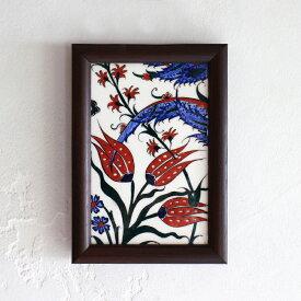 【トルコ製】イズニックデザイン・手描き陶器タイル1枚額ミニタイル・チューリップ
