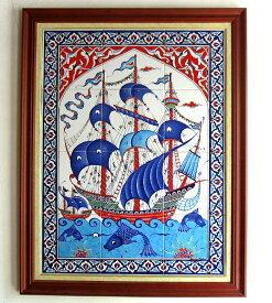 トルコ陶器・手書きタイルのパネル12枚額 チャナッカレ(トロイ)の船