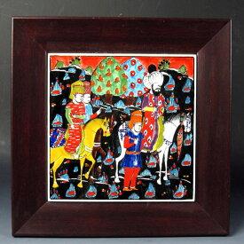 キュターヤ陶器 手描きタイル1枚額 ミニアチュール