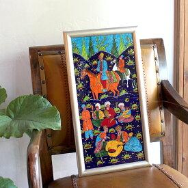 トルコ陶器・手書きタイルのパネルタイル2枚額・ミニアチュア/ Turkish tile, hand painting in Kutahya