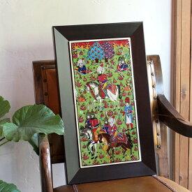 キュターヤ陶器 手描きタイル縦2枚額 ミニアチュール/ Turkish tile, hand painting in Kutahya