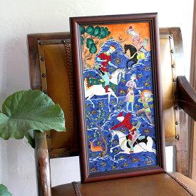 トルコ手書きタイル2枚額・細密画ミニアチュール Ottoman miniature / Turkish tile, hand painting in Kutahya