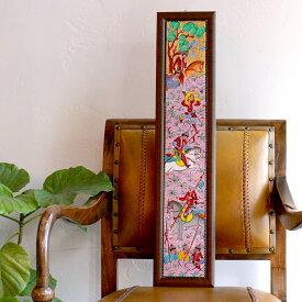 オスマントルコデザイン・手書きタイル縦3枚額 ミニアチュア/ Turkish tile, hand painting in Kutahya