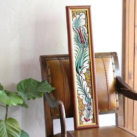 オスマントルコデザイン・チューリップの手書きタイル縦3枚額 イエロー/ Turkish tile, hand painting in Kutahya