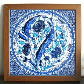 トルコ・キュターヤ陶器手書きタイル4枚正方形オットマンクラシック