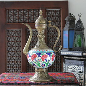 キュターヤ陶器/銅製 スルタンの水差し34cm