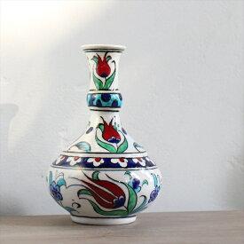 トルコ製手描き絵付けのミニ陶器水差し/赤いチューリップ