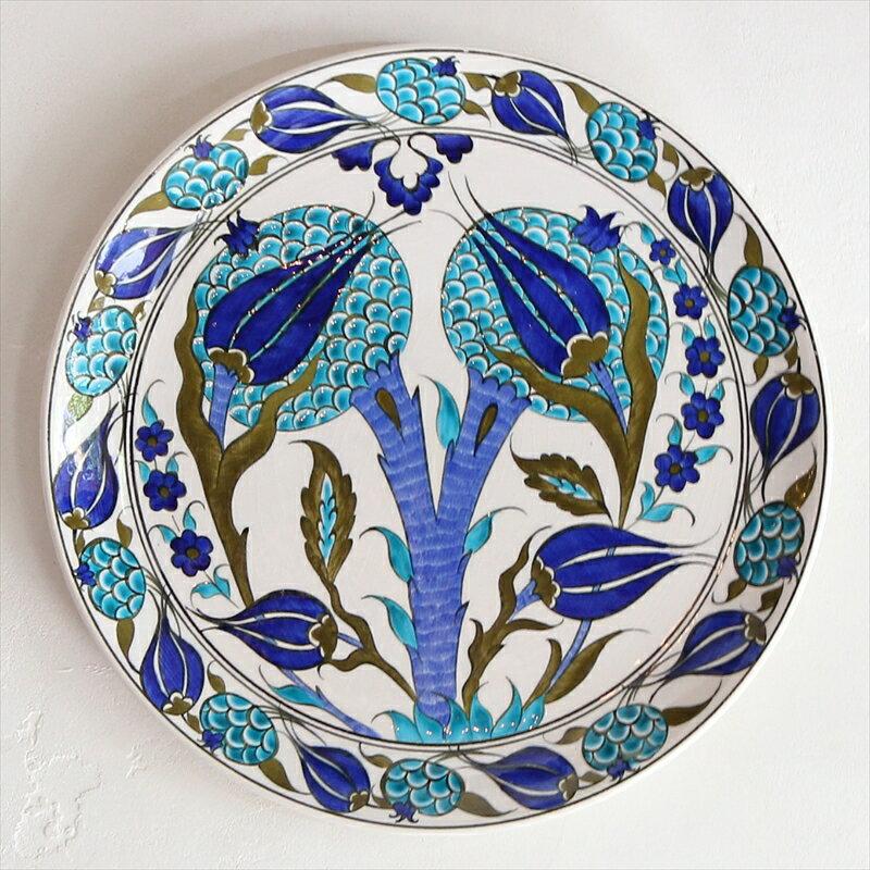 トルコ・キュタフヤ産手書き陶器の飾り皿30cmプレート/ザクロとチューリップ