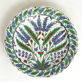 トルコ・手書き絵皿キュタフヤ陶器プレート30cmヒヤシンスとグリーンリーフ