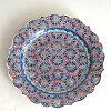 トルコ手書き絵皿キュタフヤ陶器プレートΦ30cmアラベスク柄