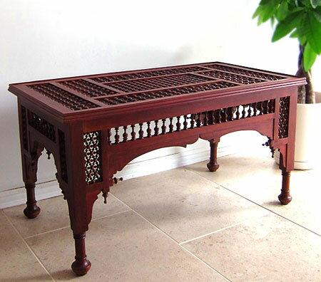 エジプト工芸家具ローテーブル・マシャラビア・エジプト製イスラミックな幾何学デザインのテーブル【送料無料】