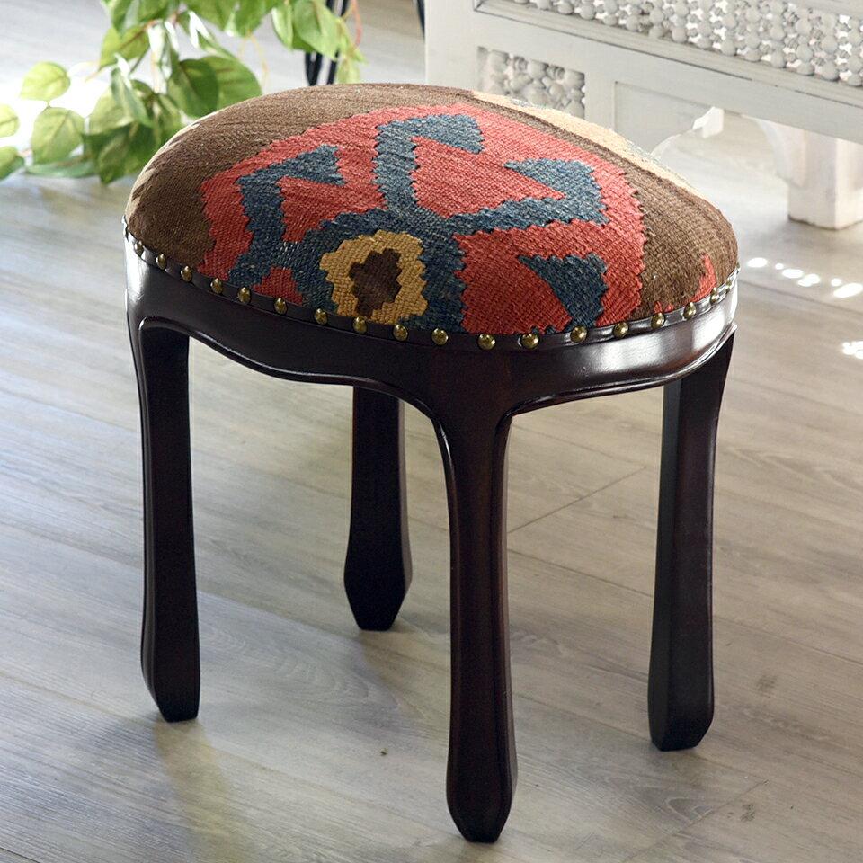 オールドキリム木製家具スツール・オットマン・オーバル40cm×30cm・高さ40cm