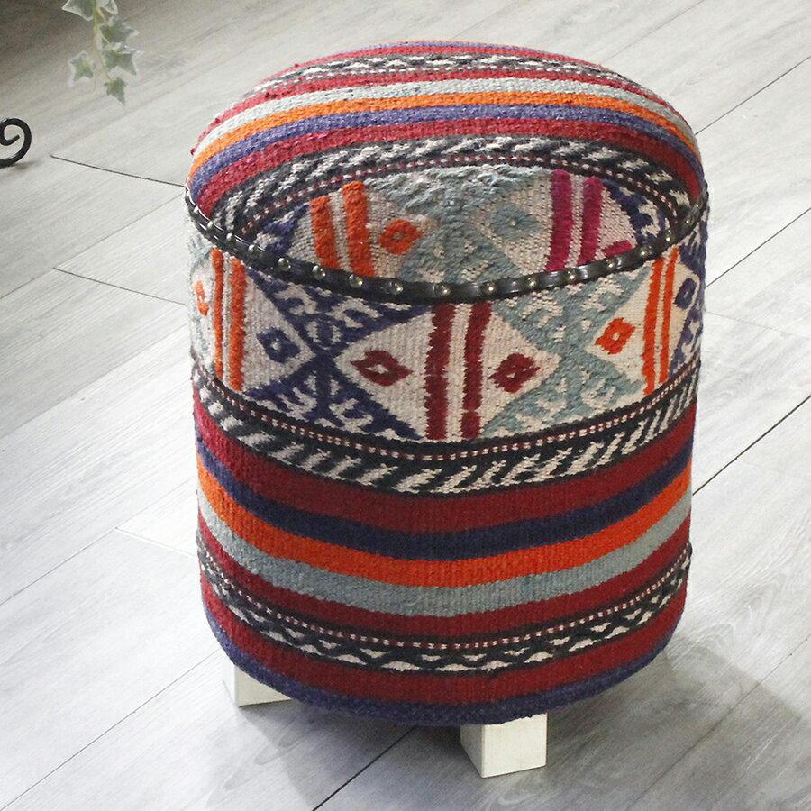 オールドキリム木製家具・スツール・円柱形・Kilim Stool Cylinder ボーダー・ジジム織り