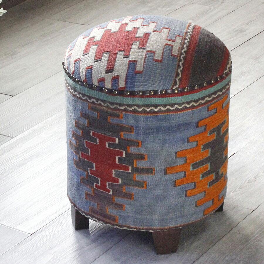 オールドキリム木製家具・スツール・円柱形・Kilim Stool Cylinder シワス