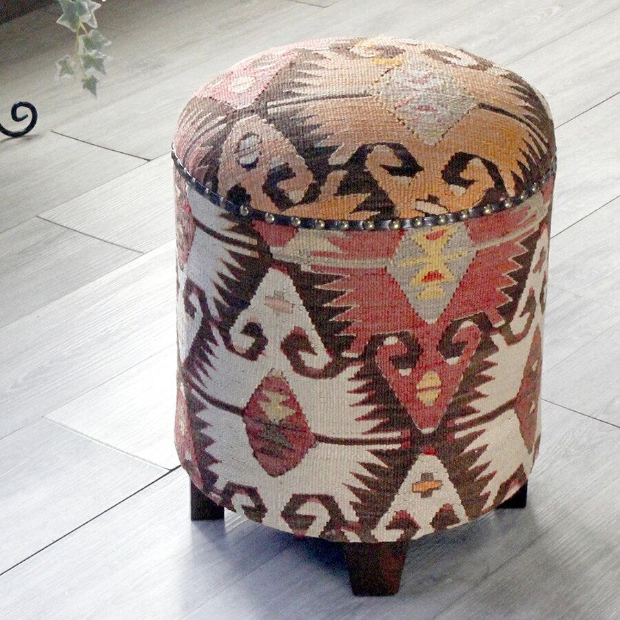 オールドキリム木製家具・スツール・円柱形・Kilim Stool Cylinder 連なるエリベリンデ・シブリヒサル