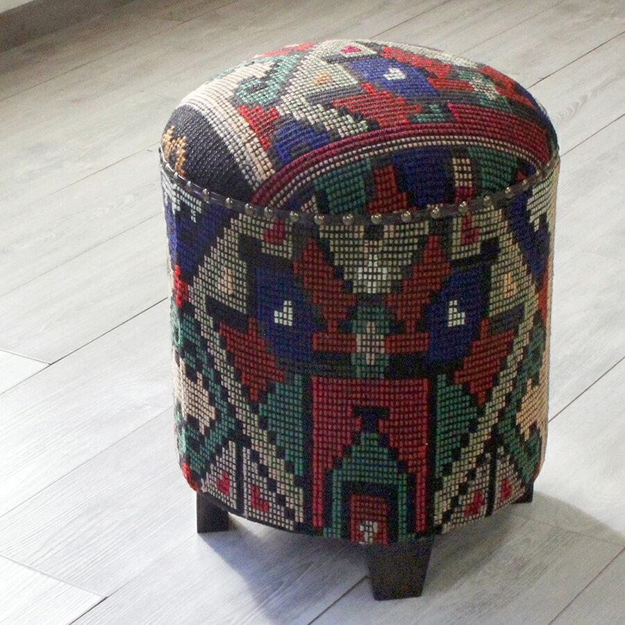 オールドキリム木製家具・スツール・円柱形・Kilim Stool Cylinder カラフルなジリ織り