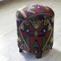 オールドキリム木製家具・スツール・円柱形・KilimStoolCylinderカラフルなジリ織り