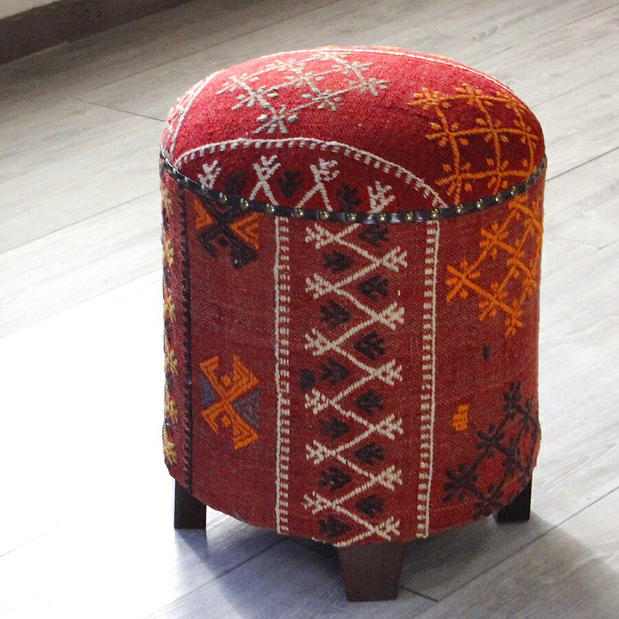 オールドキリム木製家具・スツール・円柱形・Kilim Stool Cylinder シワス・細かなジジム織り