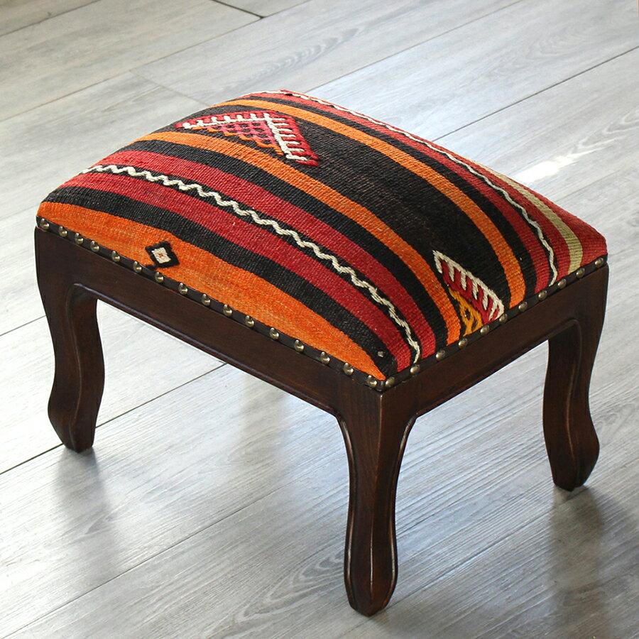 オールドキリム木製家具スツール・オットマン・レクタングル39.5cm×30.5cm・高さ29cm