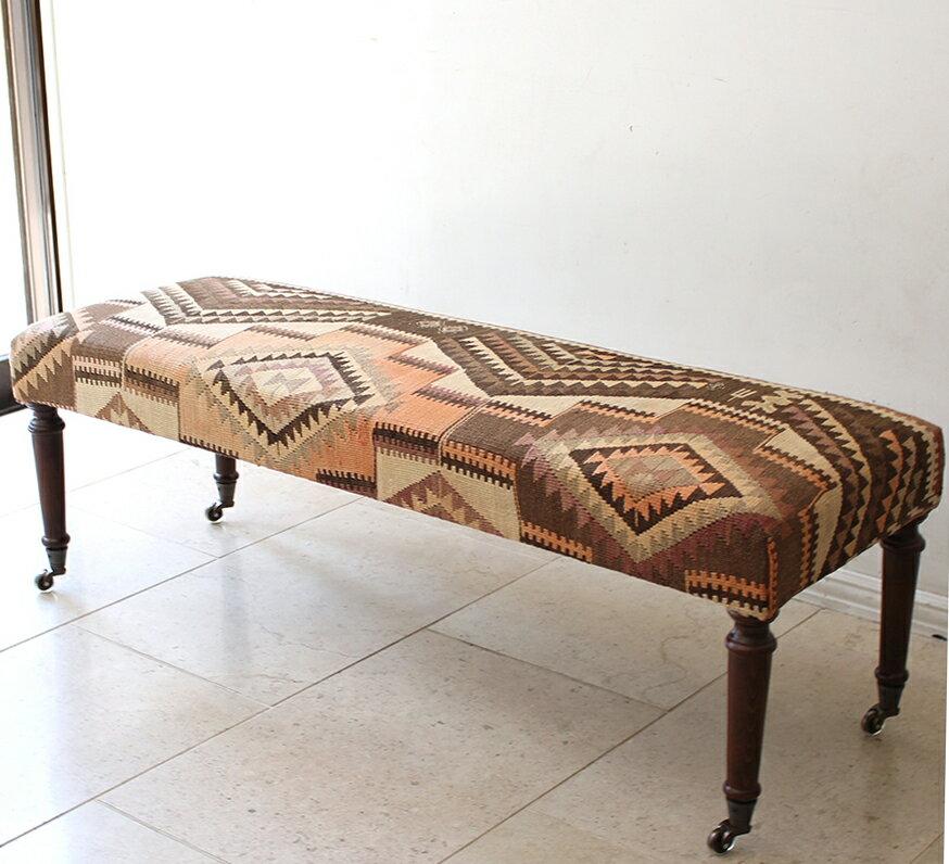 オールドキリムの木製家具スツール/オットマンレクタングル・真鍮キャスター/Lサイズ・W122×H42×D42cm