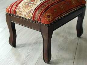 オールドキリム木製家具スツール・オットマン・レクタングル39.5cm×30.5cm