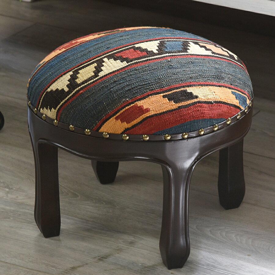 オールドキリムの木製家具・スツールオットマン・ラウンド直径37cm×高さ29cm