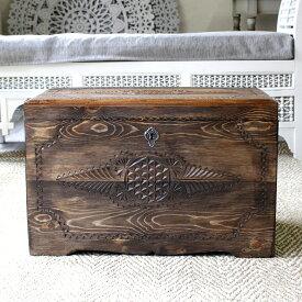 トルコ製宝箱・サンドゥック・木製ブランケットボックス・黒海地方の伝統模様飾り彫り H36×W59.5×D37.5cm