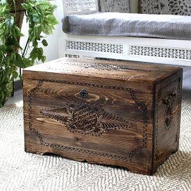 トルコ製宝箱・サンドゥック・木製ブランケットボックス・黒海地方の伝統模様飾り彫り H35.5×W59×D48cm