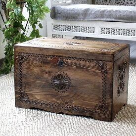 トルコ製宝箱・サンドゥック・木製ブランケットボックス・黒海地方の伝統模様飾り彫り H35.5×W60×D38cm