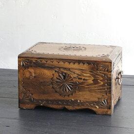 トルコ製宝箱・サンドゥック・木製ブランケットボックス・黒海地方の伝統模様飾り彫り H18×W30×D20cm
