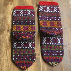 アンティーク・トルコ手編みウール靴下ワインレッド&オレンジ/小花ボーダー/25cm